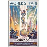 Chicago Worlds Fair - Woman on Globe - Vintage Ad (Art Print - Multiple Sizes)