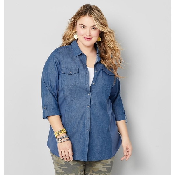 06754fbc6c AVENUE Women's Two Pocket Denim Shirt - Dark Wash