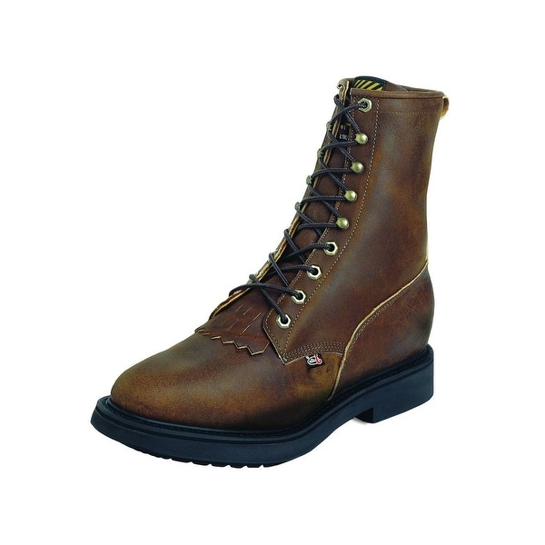 Justin Work Boots Mens Double Comfort Conductor Western Aged Bark