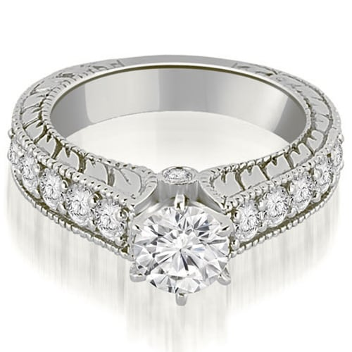 1.80 cttw. 14K White Gold Antique Cathedral Round Cut Diamond Engagement Ring