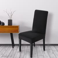 Unique Bargains Black Spandex Stretch Washable Dining Chair Cover
