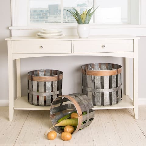 Glitzhome Farmhouse Galvanized Durable Metal Slotted Storage Basket