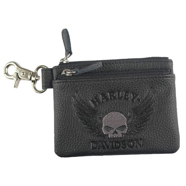 "Harley-Davidson Women's Embossed Skull Zippered Coin Pouch, Black ZWL8264-GRYBLK - 4.5"" x 3.5"" x .25"""
