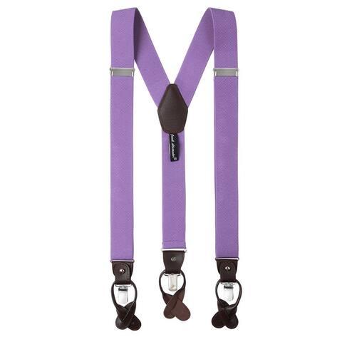 Jacob Alexander Men's Solid Elastic Y-Back Suspenders Braces Convertible Leather Ends Clips