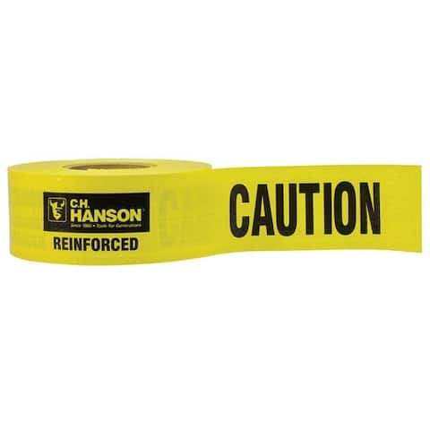 C.H. Hanson 16030 Barricade Caution Tape, Yellow, Polyethylene, 500'