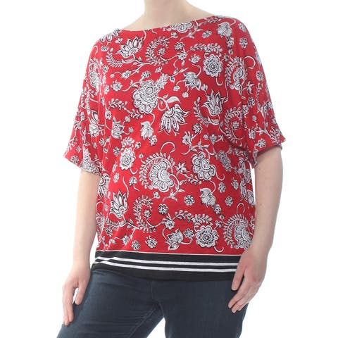 RALPH LAUREN Womens Red Floral Stripe Short Sleeve Boat Neck Wear To Work Top Plus Size: 1X