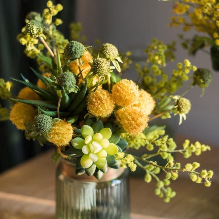 Rusticreach Artificial Flower Bouquet Green Yellow Spring Flowers 13 Tall On Sale Overstock 24072228