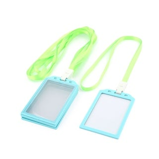 Office School Neck String Lanyard Vertical ID Card Holder Case Green Blue 5 Pcs