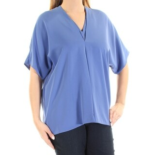 Womens Blue Dolman Sleeve V Neck Casual Blouse Top Size 14
