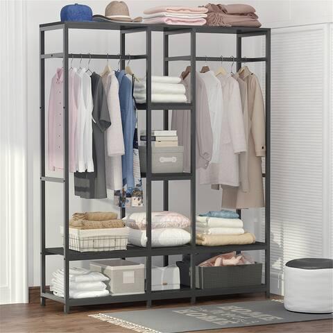 Double Rod Free Standing Closet Organizer Closet Storage