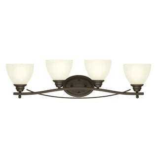 "Westinghouse 6303500 Elvaston 31"" Wide 4 Light Bathroom Vanity Light with Frosted Glass Shades - Gold"
