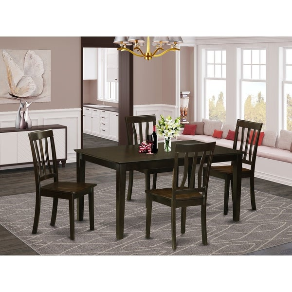 CAAN5-CAP-W 5 Piece dining table set for -4 Dining table and 4 wood seat dining chairs. Opens flyout.