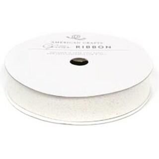 "White - Solid Glitter Ribbon .625""X3yd"