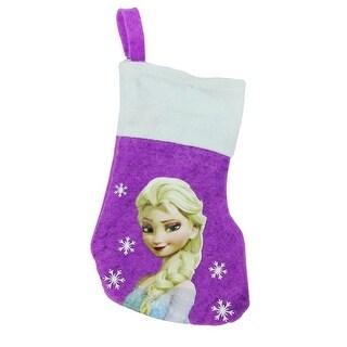 """8.5"""" Purple and White Disney Frozen Elsa Mini Christmas Stocking"""