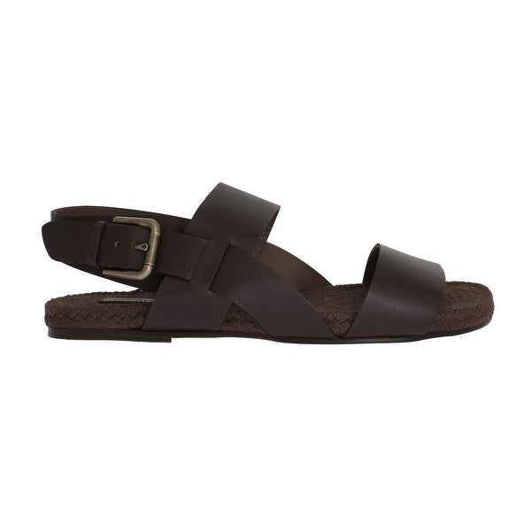 32d28828a Shop Dolce & Gabbana Dolce & Gabbana Brown Leather Strap Slides Sandals -  eu44-us11 - Free Shipping Today - Overstock - 21509479