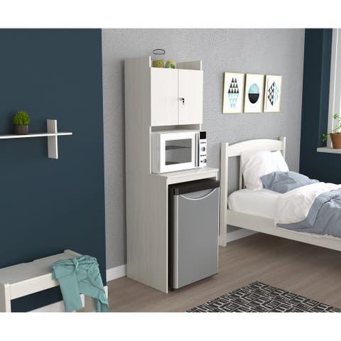Inval Mini Refrigerator and Microwave Storage Cabinet