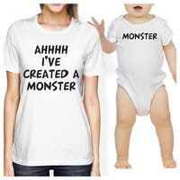 Created A Monster Mom and Baby Matching Gift T-Shirts Baby Jumpsuit
