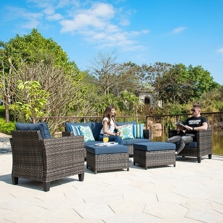 Link to Ovios 5-piece Outdoor High-back Wicker Sectional Set Similar Items in Outdoor Sofas, Chairs & Sectionals
