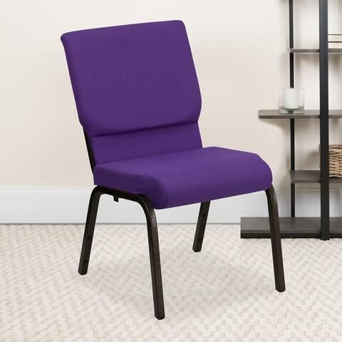 "18.5""W Dot Fabric Stacking Church Chair"