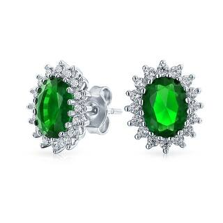 2c3c3bfcf Quick View. Was $26.99. $8.10 OFF. Sale $18.89. 3 CT Oval Green Stud  Earrings For Women Imitation Emerald CZ Halo Crown Cubic Zirconia 925  sterling Silver