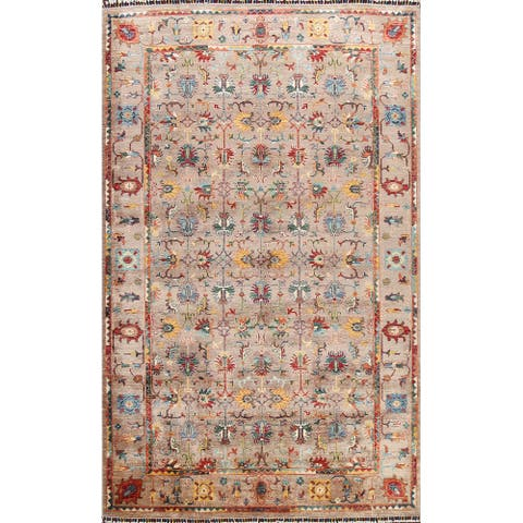 """Floral Vegetable Dye Ziegler Oriental Area Rug Wool Hand-knotted - 6'11"""" x 9'11"""""""