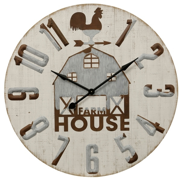 "StyleCraft SC-WC2140 38 4/5"" - ""Farm House"" Metal and Wood Analog Clock - White"