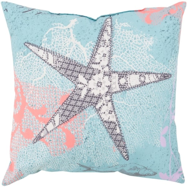 "18"" Starfish Dreams Bezique Blue and Chrome Gray Throw Pillow Shell"