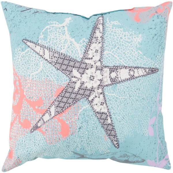 "26"" Starfish Dreams Bezique Blue and Chrome Gray Throw Pillow Shell"