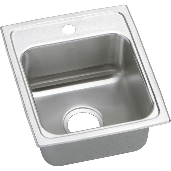 Elkay Lustertone Classic 13-In Stainless Steel 18 Gauge Single-Bowl Drop-In ADA Sink - Single hole. Opens flyout.