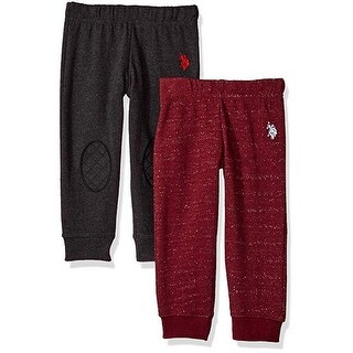 U.S. Polo Assn. Little Boys Red Charcoal 2 Pack Fleece Casual Pants Set 2-4T