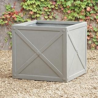 """""""X"""" Cube Decorative Planter Box with a Light Gray Concrete Finish"""