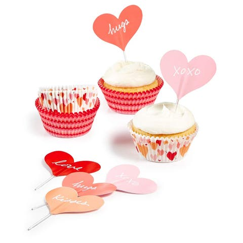 Martha Stewart Collection Heart Cupcake Liners Toppers - Red - Small
