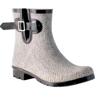Nomad Women's Droplet Rain Boot Grey White Herringbone