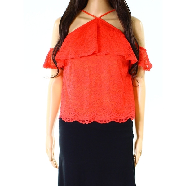 76d988725e8f3 Shop Love Fire NEW Red Womens Size Medium M Off Shoulder Lace Knit Top -  Free Shipping On Orders Over  45 - Overstock.com - 20032929