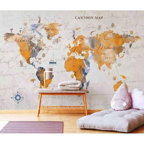 Orange World Map Removable Textile Wallpaper