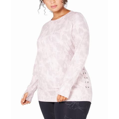 Ideology Women's Plus Size Tie Dye Lace-Up Top, Pink, 3X