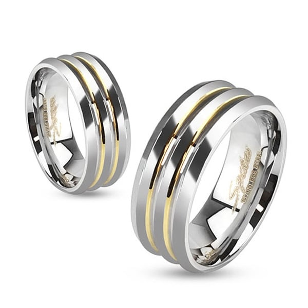 Three Layered with Gold IP Lines Stainless Steel Ring