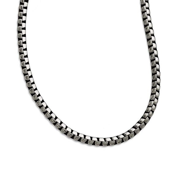 Chisel Stainless Steel Polished and Antiqued Fancy 5.50mm Chain (5.5 mm) - 21.5 in