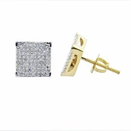 1/3cttw Diamond Square Stud Earrings Iced Out 10K Yellow Gold Screw Back 8mm Wide