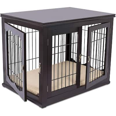 BIRDROCK HOME Decorative Dog Kennel & Bed for Small Dogs - Wooden Dog House - Indoor Pet Dog Crate Side Table - Bed Nightstand