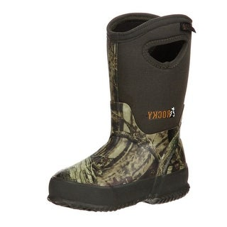 "Rocky Outdoor Boots Boys 10"" Core Rubber WP Pull On Mossy Oak RKYS119"