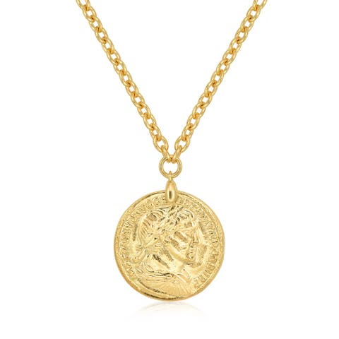 "BRONZORO 18 k Gold Overlay 17"" Rolo Coin Pendant Necklace"