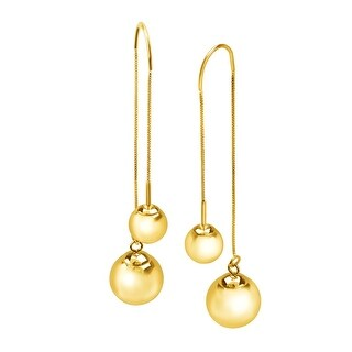 Eternity Gold Ball Stud Threader Drop Earrings in 10K Gold - YELLOW