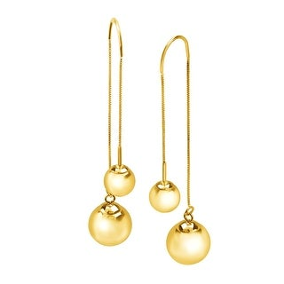 Just Gold Ball Stud Threader Drop Earrings in 10K Gold - YELLOW
