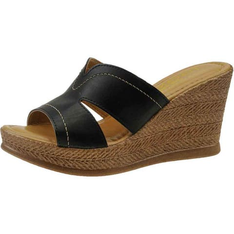 Tuscany By Easy Street Womens Marsala Wedges Faux Leather Espadrille - Black - 9 Narrow (AA,N)