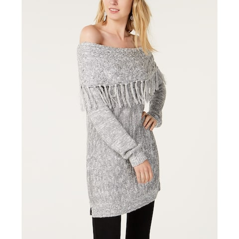 INC International Concepts Women's Foldover Off-The-Shoulder Sweater Silver Size X-Large