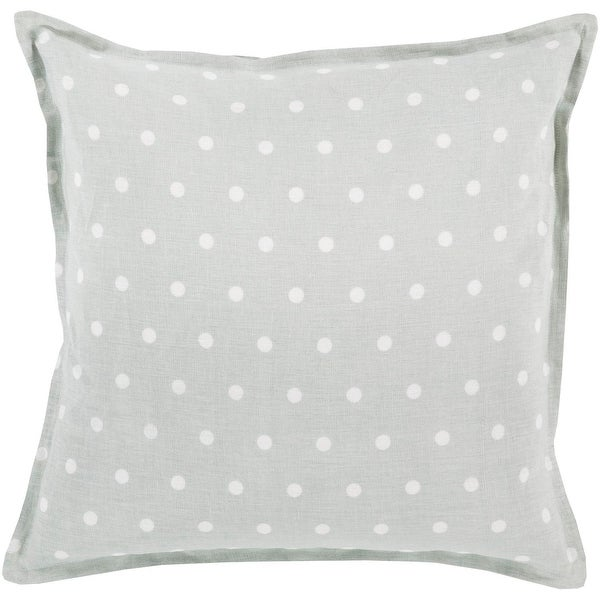 """18"""" Light Gray and Milky White Polka Dot Printed Square Throw Pillow - Down Filler"""