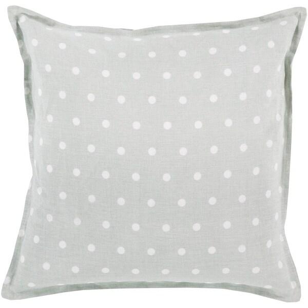"18"" Light Gray and Milky White Polka Dot Printed Square Throw Pillow"