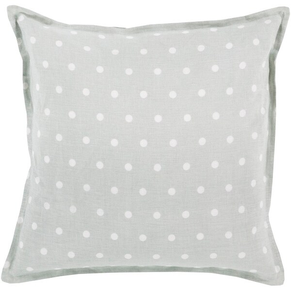 "20"" Light Gray and Milky White Polka Dot Printed Square Throw Pillow"