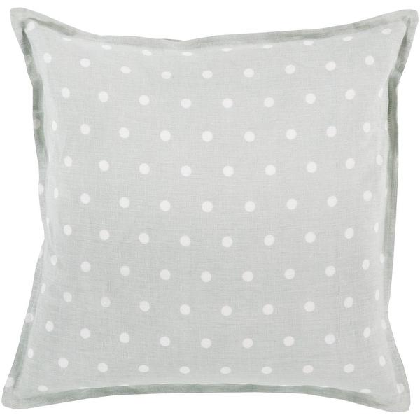 "20"" Light Gray and Milky White Polka Dot Printed Square Throw Pillow"